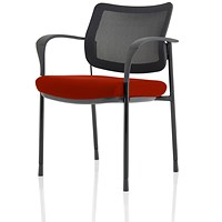 Brunswick Deluxe Visitor Chair, With Arms, Black Frame, Mesh Back, Fabric Seat, Ginseng Chilli