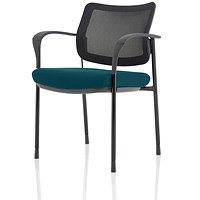 Brunswick Deluxe Visitor Chair, With Arms, Black Frame, Mesh Back, Fabric Seat, Maringa Teal