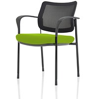 Brunswick Deluxe Visitor Chair, With Arms, Black Frame, Mesh Back, Fabric Seat, Myrrh Green