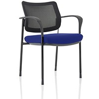 Brunswick Deluxe Visitor Chair, With Arms, Black Frame, Mesh Back, Fabric Seat, Stevia Blue