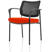 Brunswick Deluxe Visitor Chair, With Arms, Black Frame, Mesh Back, Fabric Seat, Tabasco Red