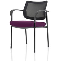 Brunswick Deluxe Visitor Chair, With Arms, Black Frame, Mesh Back, Fabric Seat, Tansy Purple