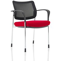 Brunswick Deluxe Visitor Chair, With Arms, Chrome Frame, Mesh Back, Fabric Seat, Bergamot Cherry