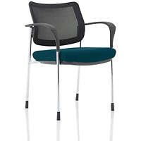 Brunswick Deluxe Visitor Chair, With Arms, Chrome Frame, Mesh Back, Fabric Seat, Maringa Teal