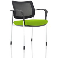 Brunswick Deluxe Visitor Chair, With Arms, Chrome Frame, Mesh Back, Fabric Seat, Myrrh Green