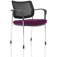 Brunswick Deluxe Visitor Chair, With Arms, Chrome Frame, Mesh Back, Fabric Seat, Tansy Purple