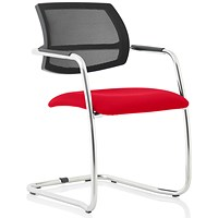 Swift Mesh Cantilever Visitor Chair - Bergamot Cherry