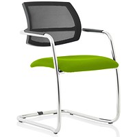 Swift Mesh Cantilever Visitor Chair - Myrrh Green
