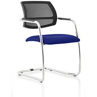 Swift Mesh Cantilever Visitor Chair - Stevia Blue