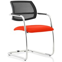 Swift Mesh Cantilever Visitor Chair - Tabasco Red