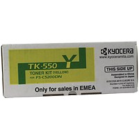 Kyocera TK-550Y Yellow Toner Cartridge (6000 page capacity) 1T02HMAEU0
