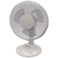 Q-Connect Desktop Oscillating Fan, 2 Speed, 9 Inch