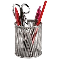 Q-Connect Mesh Pen Pot - Silver