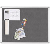 Q-Connect Noticeboard, Aluminium Trim, W900xH600mm, Grey