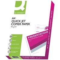 Q-Connect Premium A4 White Inkjet Paper, 90gsm, Ream (500 Sheets)