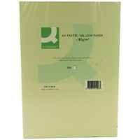 Q-Connect Coloured Paper - Pastel Yellow, A4, 80gsm, Ream (500 Sheets)