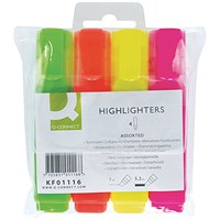 Q-Connect Assorted Highlighter Pens (Pack of 4)