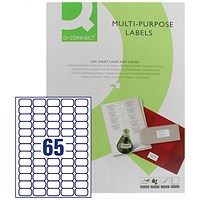 Q-Connect Multi-Purpose Label, 38.1x21.2mm, 65 per Sheet, Pack of 100 Sheets
