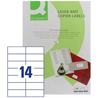 Q-Connect Laser Label, 105x42mm, 14 per Sheet, Pack of 100 Sheets