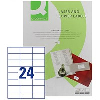 Q-Connect Laser Label, 70 x37mm, 24 per Sheet, Pack of 100 Sheets