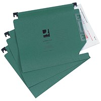 Q-Connect Lateral Files with Tabs & Inserts, 275mm Width, Green, Pack of 25