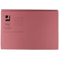 Q-Connect Square Cut Folders, 250gsm, Foolscap, Pink, Pack of 100