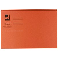 Q-Connect Square Cut Folders, 250gsm, Foolscap, Orange, Pack of 100