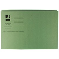 Q-Connect Square Cut Folders, 250gsm, Foolscap, Green, Pack of 100