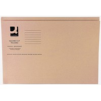 Q-Connect Square Cut Folders, 250gsm, Foolscap, Buff, Pack of 100