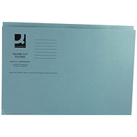 Q-Connect Square Cut Folders, 250gsm, Foolscap, Blue, Pack of 100