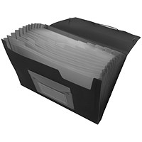 Q-Connect Expanding File, 13 Pockets, Black