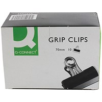 Q-Connect Grip Clip 70mm Black (Pack of 10)