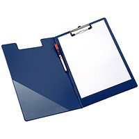 Q-Connect PVC Foldover Clipboard, Foolscap, Blue