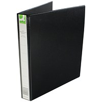 Q Connect Presentation Binder, 4 D-Ring, 40mm Spine, 25mm Capacity, A4, Black
