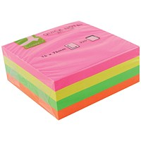 Q-Connect Quick Note Cube 76 x 76mm Assorted Neon KF01348