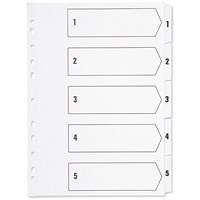 Q-Connect Plastic Index Dividers, 1-5, A4, White