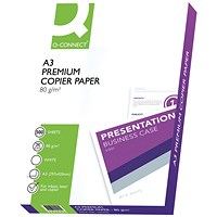Q-Connect Premium A3 Copier Paper, 80gsm, Ream (500 Sheets)