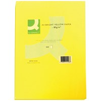 Q-Connect Coloured Paper - Bright Yellow, A4, 80gsm, Ream (500 Sheets)