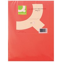 Q-Connect Coloured Paper - Bright Red, A4, 80gsm, Ream (500 Sheets)