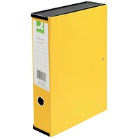 Q-Connect Box File, 75mm Spine, Foolscap, Yellow, Pack of 5