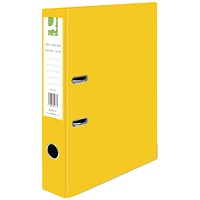 Q-Connect Foolscap Lever Arch Files, Yellow, Pack of 10