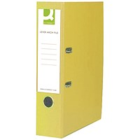 Q-Connect Foolscap Lever Arch Files, Plastic, Yellow, Pack of 10