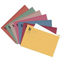 Q-Connect Square Cut Folders, 250gsm, Foolscap, Assorted, Pack of 100