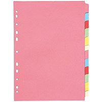 Q-Connect Subject Dividers, 12-Part, A4, Assorted