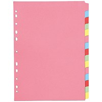 Q-Connect Subject Dividers, 15-Part, A4, Assorted