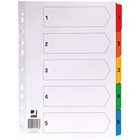 Q-Connect Index Dividers, 1-5, Multicolour Tabs, A4, White