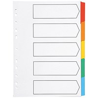 Q-Connect Index Dividers, 5-Part, Multicolour Tabs, A4, White