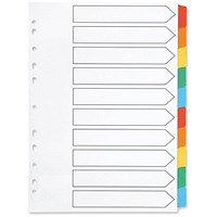 Q-Connect Index Dividers, 10-Part, Multicolour Tabs, A4, White