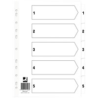 Q Connect Index 1-5 Board Reinforced White (Pack of 50) KF01527Q