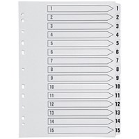 Q-Connect Index Dividers, 1-15, Clear Tabs, A4, White
